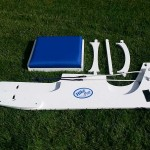 collapsible, adjustable dynamic hiking bench disassembled